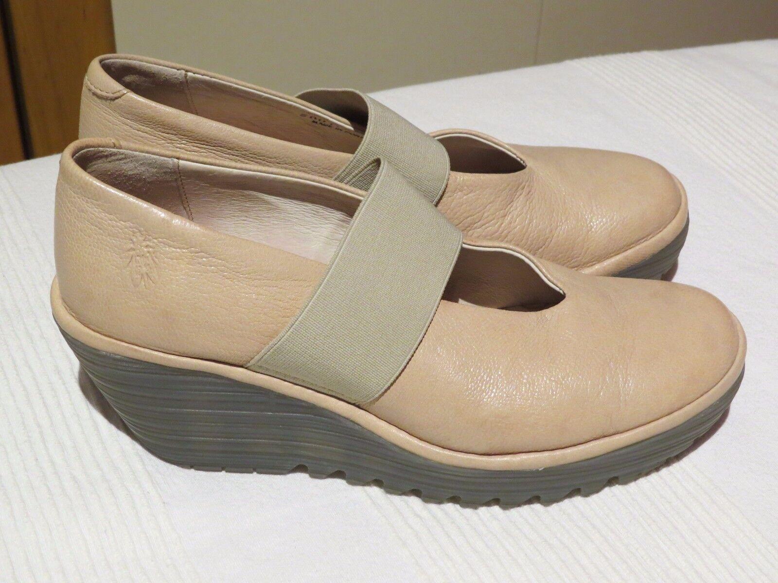 FLY LONDON YALE CREAM / NUDE LEATHER SLIP ON MARY JANE Schuhe UK 4 EUR 37
