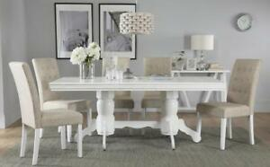 Chatsworth-amp-Regent-Extending-White-Dining-Table-amp-4-6-Chairs-Set-Oatmeal