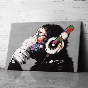 DJ Monkey Gorilla Chimp Banksy Canvas Wall Art Prints Large Graffiti Pictures