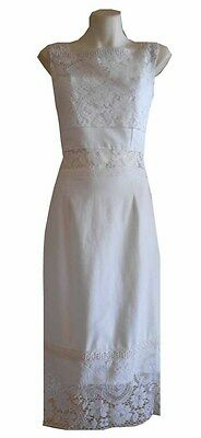 VINTAGE HARAH DESIGNS LACE  COTTON FITTED DRESS WEDDING PARTY BOHO WHITE MOD 70S