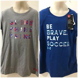 6d234ada3 Under Armour Heatgear Girls Blue/Gray Sz M T-shirt $40 NWT Lot of 2 ...