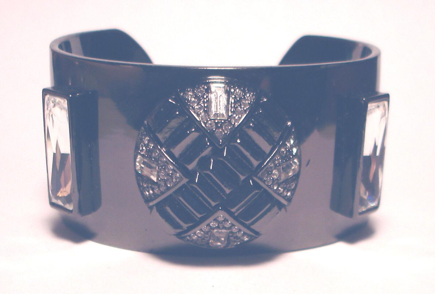 RARE Vintage 80's GIVENCHY Gunmetal STATEMENT Crystal COUTURE BRACELET France