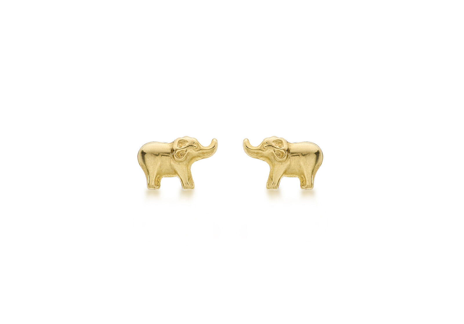9ct Yellow gold Elephant Animal Stud Earrings Solid gold Box Gift Jewellery