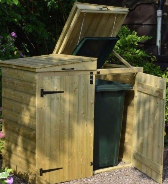 5ft DOUBLE WHEELIE BIN STORE LIFTING LIDS PRESSURE TREATED WOODEN GARDEN SCREEN & 5ft Double Wheelie Bin Lifting Lids Pressure Treated Wooden Garden ...