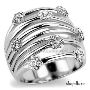 WOMEN-039-S-ROUND-CUT-CZ-SILVER-STAINLESS-STEEL-WIDE-BAND-FASHION-RING-SIZE-5-10