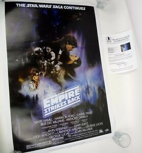 Harrison-Ford-Signed-Star-Wars-The-Empire-Strikes-Back-Movie-Poster-Beckett-COA