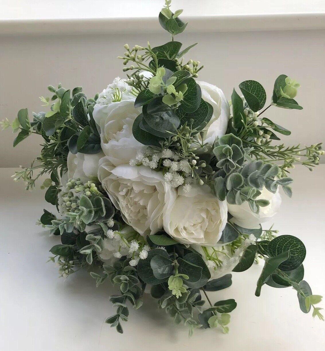 PEONY BOUQUET BRIDE BROOCH WEDDING FLOWERS Weiß GrößeRY EUCALYPTUS MODERN