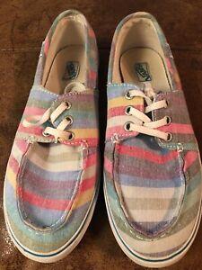 Vans Deck Shoes Uk 5 5 Pastel Stripe Skateboard Shoes Trainers Ebay