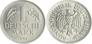 Frg 1 Mark 1962 J Lack Coinage Without Randschrift, Auslands-Ronde Xf-Bu