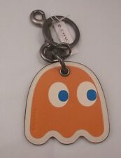 NWT COACH PAC MAN GHOST RED ORANGE PINK TURQUOISE LEATHER KEY CHAIN RING 56752