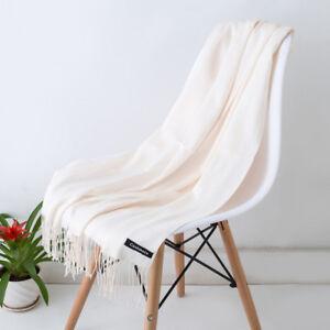 Grand-Echarpe-Foulard-Homme-Femme-100-Cachemire-Blanc-Tissu-Fin-Elegant-Parisien