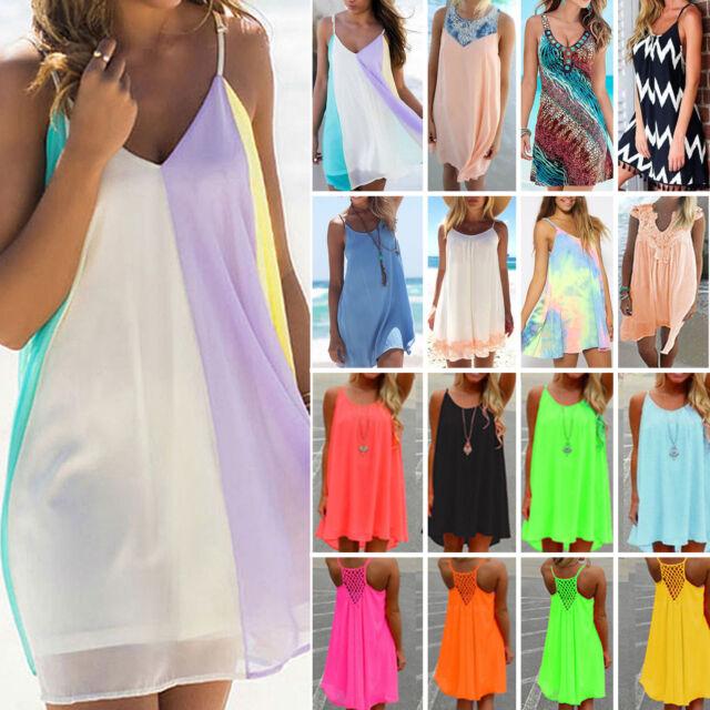 Womens Summer Chiffon Beach Wear Bikini Cover Up Kaftan Loose Swing Sun Dress