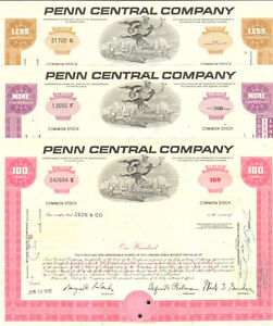 Penn-Central-Company-gt-railroad-gift-set-gt-lot-of-3-stock-certificates