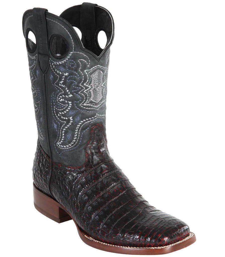 WILD WEST CHERRY GENUINE CROCODILE BELLY COWBOY BOOT RANCH-WIDE SQUARE-TOE (D)