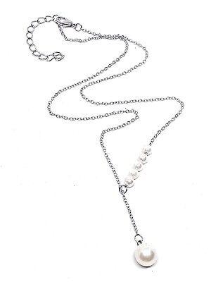 """Lariat Ciondolo 6 Pearl Sposa Placcato Argento 18"""" Collana Uk Venditore Gratis-mostra Il Titolo Originale Diversificato Nell'Imballaggio"""