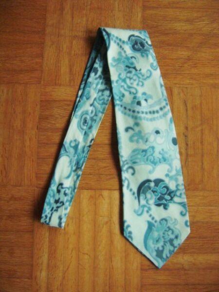 @ Mark Seven @ Corbata Azul Pálido 100% Seda-como Nuevo Vintage-ver