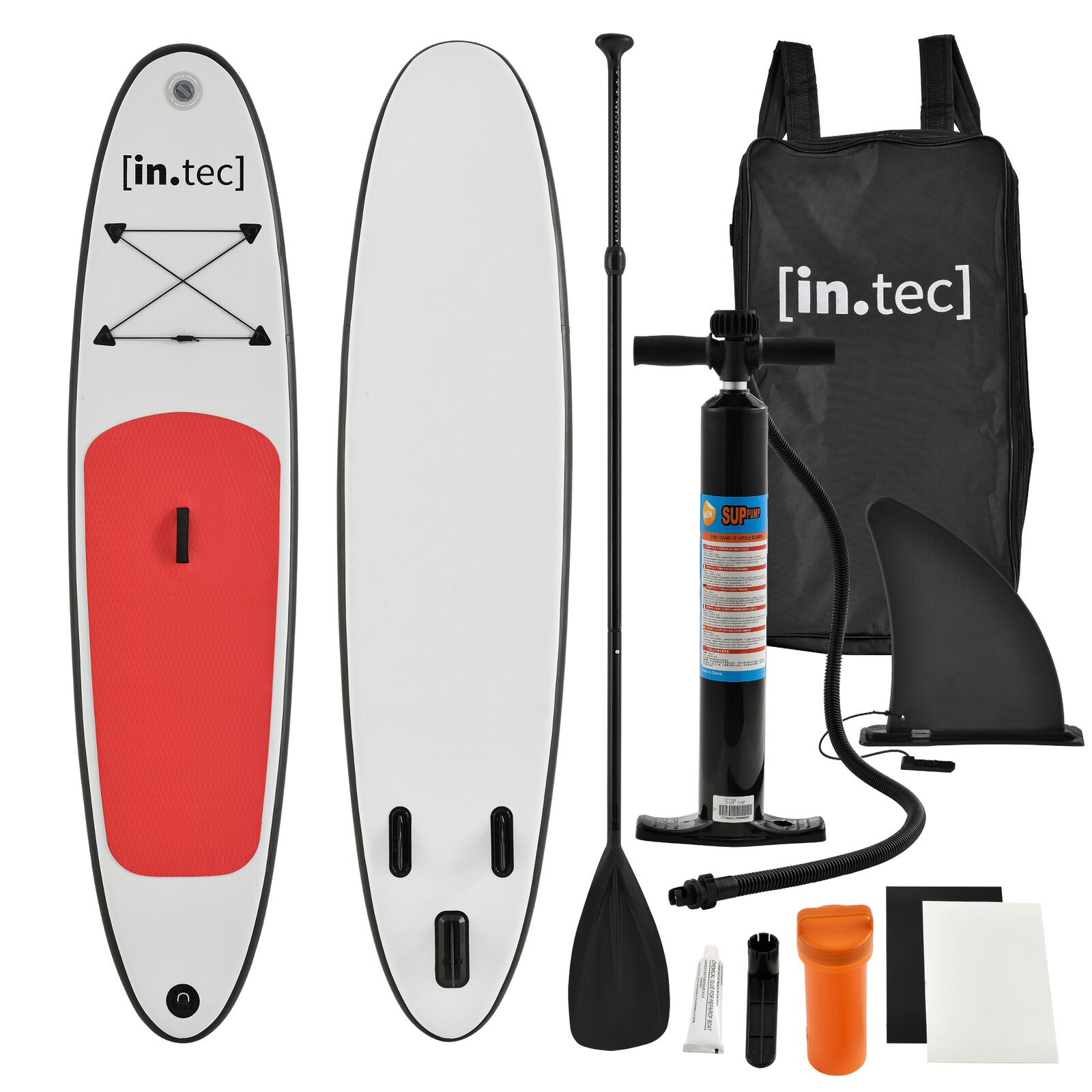 [in.tec]® SUP Paddle Board Surfboard Stand-Up Inflatable Board  305x71x10cm Red