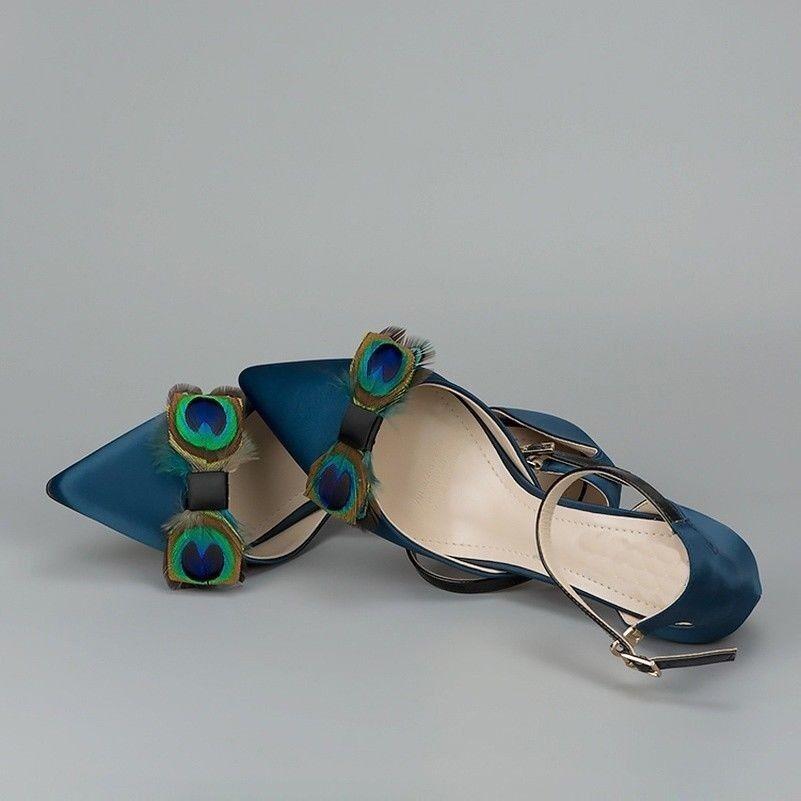 GJX09 1 Pair Peacock Feathers Shoe Clips Ornament Heel Boot Charm DIY Handicraft