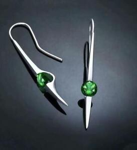 Vintage-Women-925-Silver-Emerald-Hook-Drop-Dangle-Wedding-Party-Jewelry-Earring