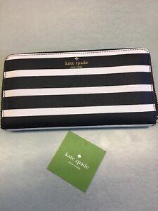New-Kate-Spade-Michele-Hyde-Lane-PVC-Zip-Around-Wallet-Black-amp-White-Stripe