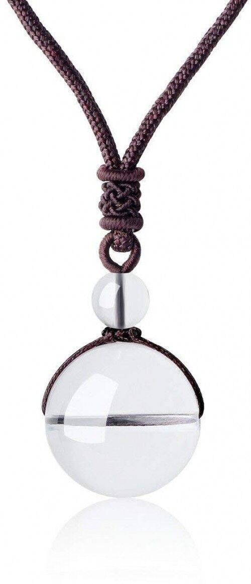 COAI Unisex Genuine Round Clear Quartz Bead Reiki Healing Pendant Adjustable