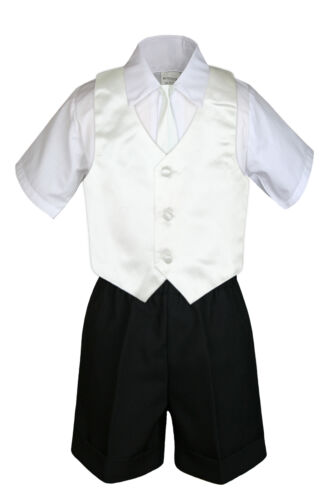 4pc Boys Toddler Formal Baby Black Shorts Color Vest and Clip on Necktie S-4T