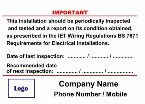 Self Adhesive Vinyl 12 x Periodic Electrical Installation Test Stickers BS7671