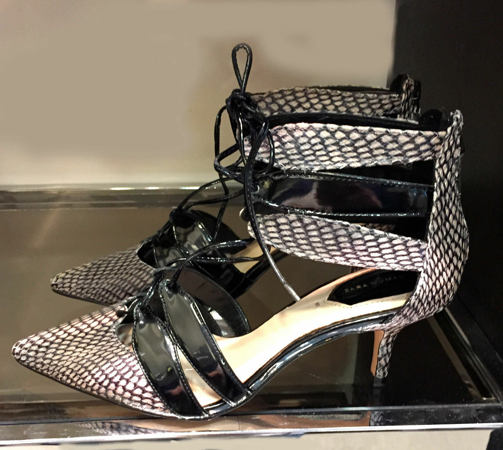 Rare_NWT ZARA COMBINED LEATHER HIGH HEEL SHOES WITH STRAPS 5211 001_7.5 8