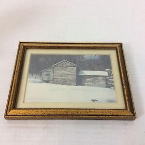 Log Cabin with Running Rabbit Small Print Signed Framed Ready to Hang