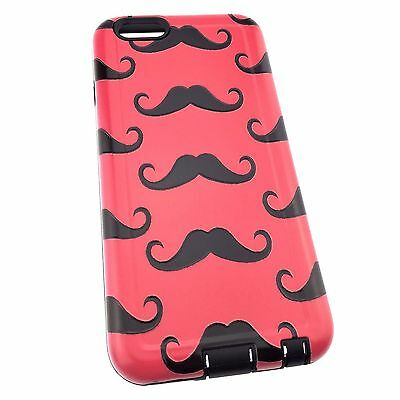 iPhone 5/SE/6/6S/7 Pink Mustache Tough Hybrid Armour Cover Case