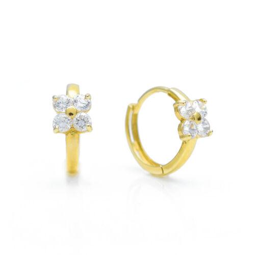 0.48tcw créé Diamond CALIN Boucles D/'Oreilles 14K Or Jaune 4-Stone Cluster