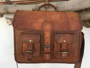 Men-039-s-Genuine-Leather-Shoulder-Messenger-Bag-Vintage-Satchel-Briefcase-Handmade