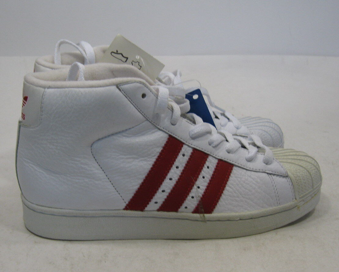 Adidas White Hi Top Red Strips On The Side Leather 677770 Size 7.5