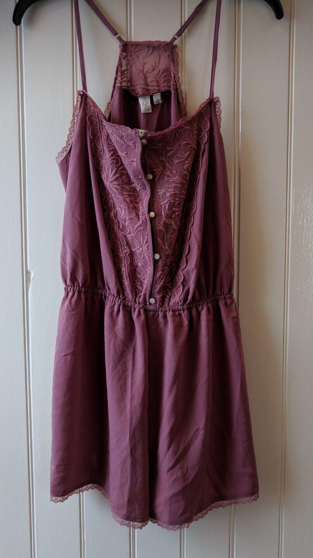Anthropologie romper mauve lace lingerie sz L strap embroidery Eloise NEW w tags
