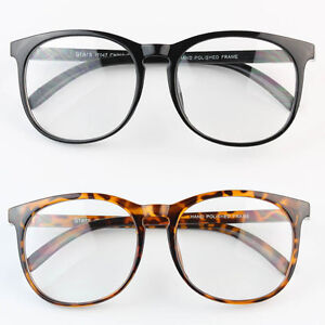 eadf1aefbbdb Image is loading Large-Oversized-ROUND-Vintage-Glasses-Horn-Clear-Lens-