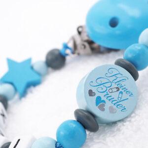 Schnullerkette-mit-Namen-Junge-KLEINER-BRUDER-Babygeschenk-blau-grau