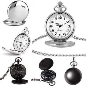 Vintage-Elegant-Herrenuhr-Taschenuhr-Glatte-Oberflaeche-Pocket-Watch-Sprungdeckel