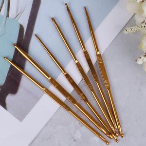 6pcs-Golden-Aluminum-Double-End-Crochet-Hook-2-0-7-0m-S
