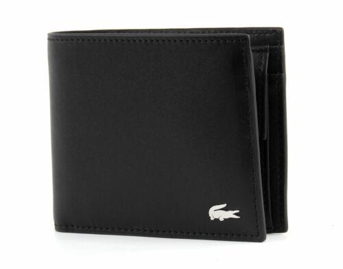 Lacoste FG M Billfold /& Coin Porte-monnaie Portefeuille Porte-monnaie cuir noir