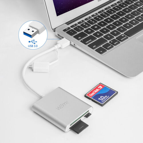 WEme Micro USB OTG to USB 3.0 Adapter SD//Micro SD CF Card Reader with USB A Male