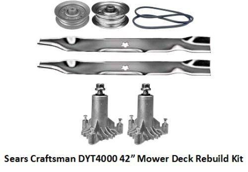 """42/"""" Lawn Mower Deck Rebuild Kit Fits Sears Craftsman DYT4000 Blades Pulleys 110"""