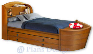 Children S Twin Boat Bed With Trundle Woodworking Plans Do It