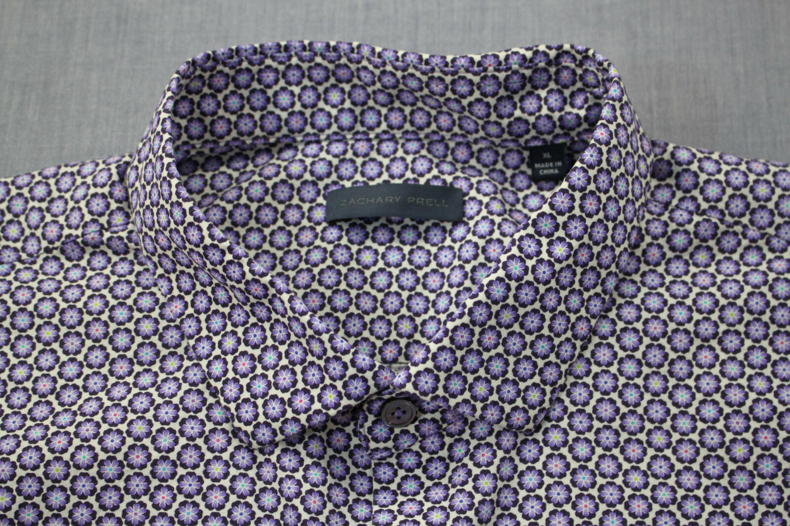 ZACHARY PRELL Mens Geo Starburst Print 100% Cotton SS Sport Shirt  XL
