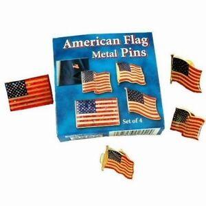Lot of 384 Pieces - Assorted Patriotic Metal American Flag Lapel Pins