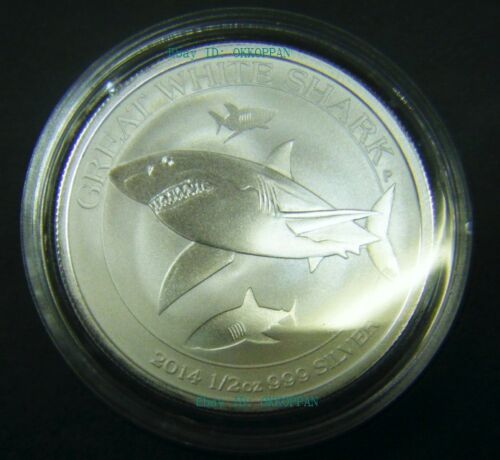 2014 Australian Great White Shark 1//2 oz Silver Coin 0.5 round w Capsule 50 cent