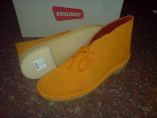 Clarks Originals Mens DESERT BOOTS ORANGE SUEDE UK 10 US 10.5 F