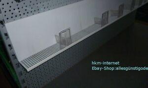 6x-Fachboden-Tegometall-125cm-lg-16-cm-h-5-cm-t-gelochter-Boden-lichtgrau