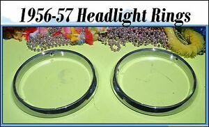 Corvette-1956-1957-Headlight-Bucket-Trim-Ring-Chrome-Bezels-Pair