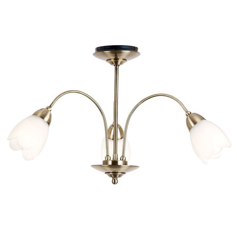 Endon W-Antique Lighting Petal 3lt Semi Flush 40 W-Antique Endon 124-3ab 2a7cbc