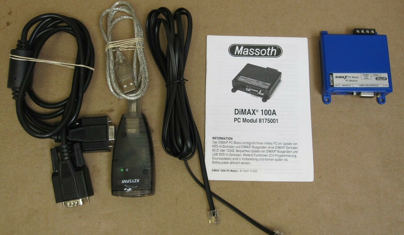 Massoth DiMAX 100A PC Module 8175001 wSerial to USB Adaptor Cable